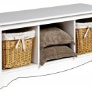 White Queen Double/Full Hallway Bed Bench Storage Room Organizer
