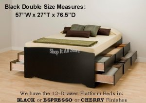 Black Tall 12 Drawer Double / Full Size Platform Storage Bed w/ Built in Dresser