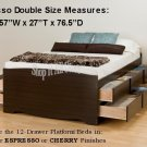 Espresso Tall 12 Drawer Double / Full Size Platform Storage Bed w/ Built in Dresser