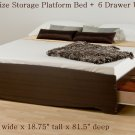 Espresso King Captains Platform Storage Bed w/ 6 Drawer Dresser Chest Underbed