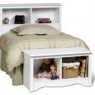 White Twin Size Bed Storage Bookcase Headboard Bookcase