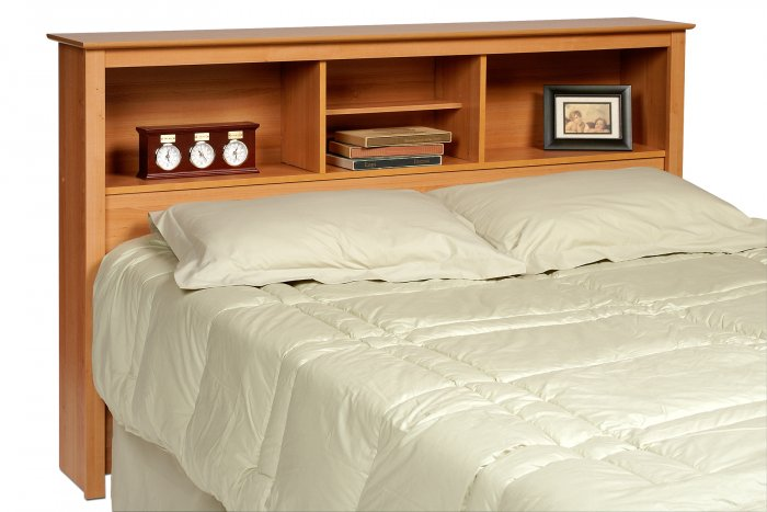 maple queen double full size bed storage bookcase headboard