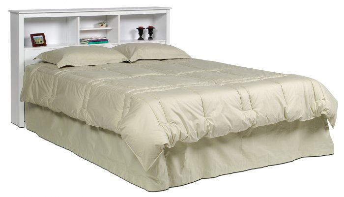 white queen double full size bed storage bookcase headboard