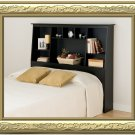 Black Queen / Double / Full Size Bed Tall Slanted Storage Bookcase Headboard
