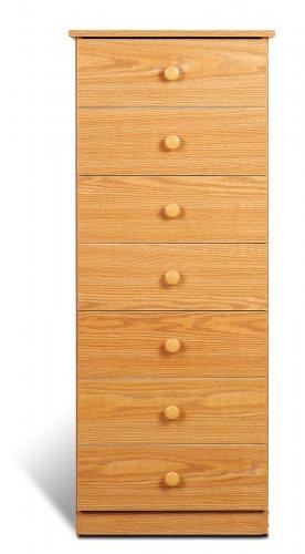 Oak Bedroom Seven (7) Drawer Chest Dresser Storage Clothes Organizer