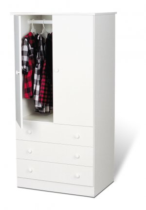 White Bedroom Armoire / Entertainment Center w/ 3-Storage Drawers