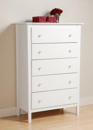White Bedroom Five (5) Drawer Dresser Chest Storage Clothes Organizer