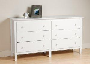 White Bedroom Six (6) Drawer Dresser Chest Storage Clothes Organizer