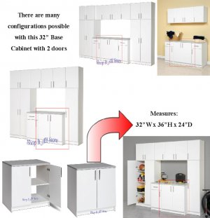 "White 32"" Kitchen Pantry Laundry Room Bedroom Garage Storage Cabinet"