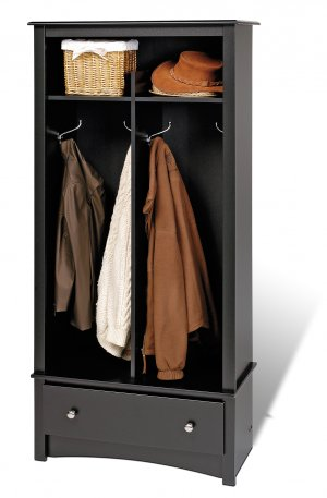 Black Doorway / Entranceway / Hallway Coat - Shoe Rack Storage Organizer - Multiple Uses!