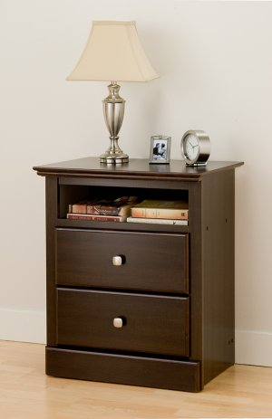 Espresso Tall Two (2) Drawer Bedroom Night Stand Storage Bookcase Books Nightstand