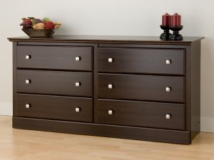 Espresso Six (6) Drawer Bedroom Clothes Dresser Cabinet Chest