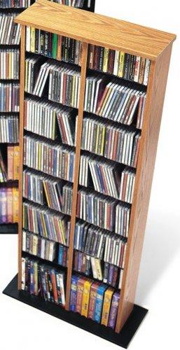 OAK CD / DVD / BLU-RAY Movie / Video Game Storage Tower Organizer