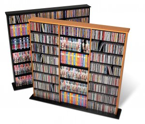 BLACK Triple Wall CD / DVD / BLU-RAY Movie / Video Game Storage Tower Organizer