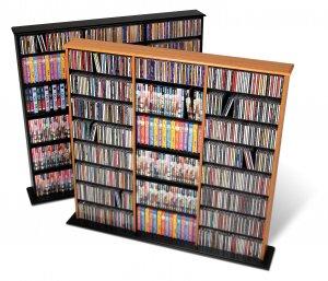 OAK Triple Wall CD / DVD / BLU-RAY Movie / Video Game Storage Tower Organizer