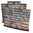 BLACK Quad Wall CD / DVD / BLU-RAY Movie / Video Game Storage Tower Organizer