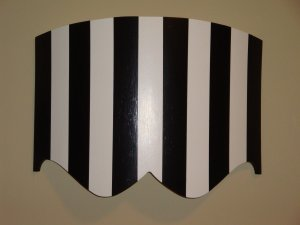 Curved Bed Crown / Cornice Black and White Strips