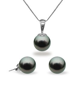 Black Tahitian Pendant & Earring Set 9.0-10.0mm