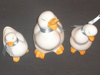 3PC White Duck W/ Blue Ribbon Figurine