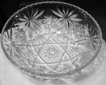 Anchor Hocking Star of David Salad Clear Glass Bowl