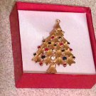 Gold Christmas Tree Rhinestone Brooch / Pin