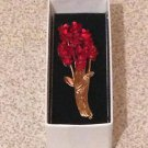 DOZEN RED ROSES BOUQUET PIN / BROOCH