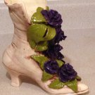 Ladies Lace Up Boot Shoe Planter Vase with Flowers and Leaves