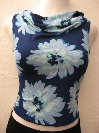 Trendy Blue Floral Print Scoop Neck Tank Top - Express (Extra Small)