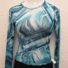 Sexy Blue & White Sheer Long Sleeve Top - Ya (Medium)