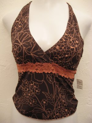 Sexy Brown and Pink Halter Top with Lace Lining Under Bust - Objet
