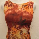 Trendy Red, Orange & Pink  Floral Print Tank Top (Small)