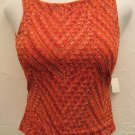 Trendy Sheer Orange Print Tank Top - Heart Moon Star (Small)