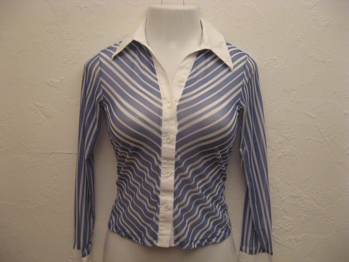Trendy Blue & White Striped Sheer Career Top - Nikibiki (Small)