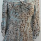 Trendy Silk Long Sleeve Sheer Career Top - Ann Taylor (Medium, Size 6)