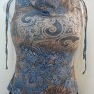 Trendy Blue, Tan & Brown Swirl Print Tank Top - A. Byer (Small)