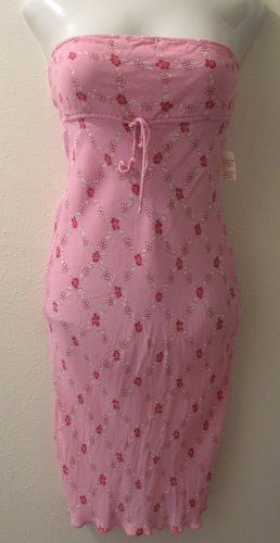 Trendy Bright Pink Floral Print Strapless Summer Dress - Charlotte Russe (Large)