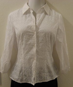 White Sheer Swirl Print Button Down Long Sleeve Career Top - Geoffrey Beene Sport (Size 10, Large)