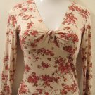 Trendy Tan & Red Floral Print V-Neck Half Sleeve Dress Top - Only Hearts NYC (Medium) New With Tags