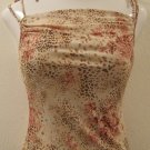 Sexy Tan & Pink Animal Print Scoop Neck Spaghetti Strap Top - Niche