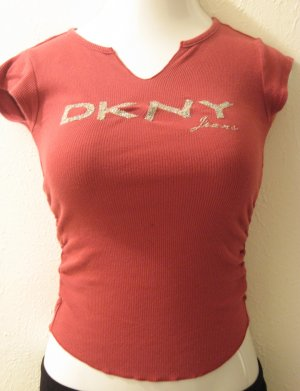 Purple V-Neck Short Sleeve Top with Sparkly DKNY Logo on the Front - DKNY (Extra Small)