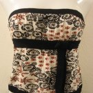 White, Black & Red Floral Print Tube Top with Thick Black Bow Under Bust - Angie (Small)