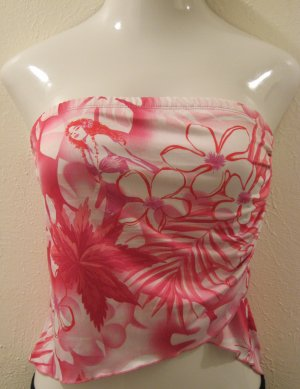 Hot Pink & White Tube Top with Mermaid & Hawaiin Floral Print - Rave