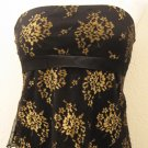 Sexy Black Tube Top with Sheer Top Layer, Gold Floral Print & Silk Ribbon - Dess (Large)