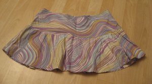 Purple, White & Blue Swirl Print Frilled Mini Skirt - Eye Shadow (Size 5, Small)
