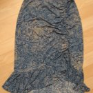 Trendy Blue Snake Skin Print Skirt with Cinch & Frilled Base - BCBG Maxazria (Extra Small)