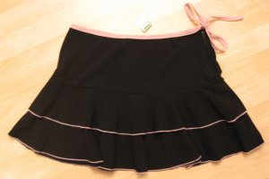 Trendy Black Skirt with Pink Trim & Tie on Left Hip - Papaya (Large) Brand New With Tags