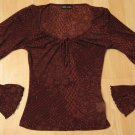 Trendy Sheer Dark Purple Long Sleeve Top with Frilled Cuffs - Wet Seal (Extra Small)