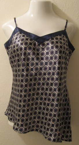 Dark Navy Blue & White Silky Geometric Print Spaghetti Strap Top - Old Navy (Large)