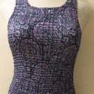 Trendy Silky Blue, White & Purple Swirl Print Popcorn Style Tank Top - Eye Candy (Medium)