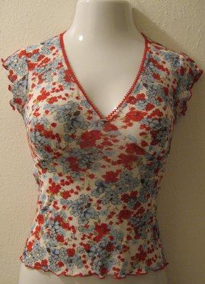 Sheer Light Blue, Red & White Floral Print Short Sleeve Top - Self Esteem (Medium)